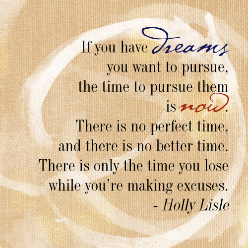 If you have dreams you want to pursue, the time to pursue them is now. There is no perfect time, and there is no better time. There is only the time you lose while you're making excuses. - Holly Lisle